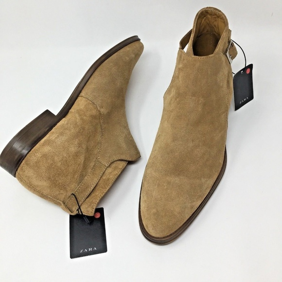 406fa76e70338 Zara Shoes | Mens Beige Suede Leather Ankle Boots Buckle | Poshmark